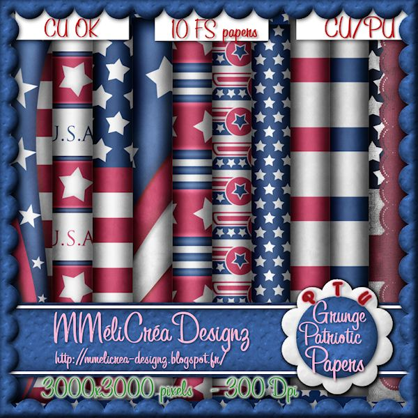 Grunge Patriotic Papers CU/PU
