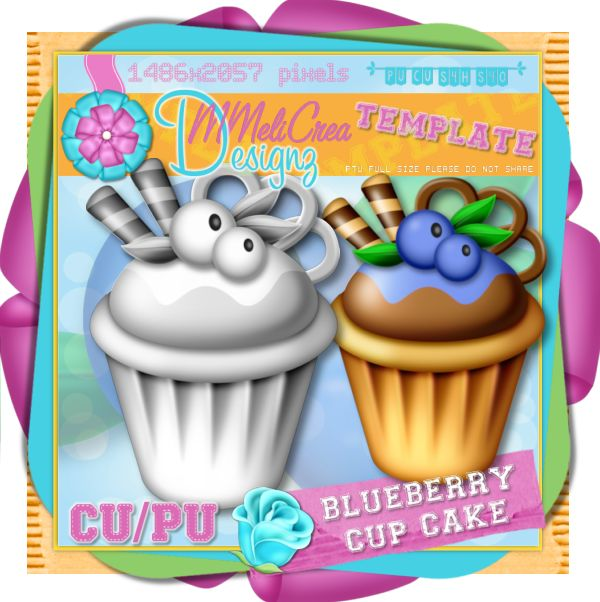 Blueberry Cup Cake Template