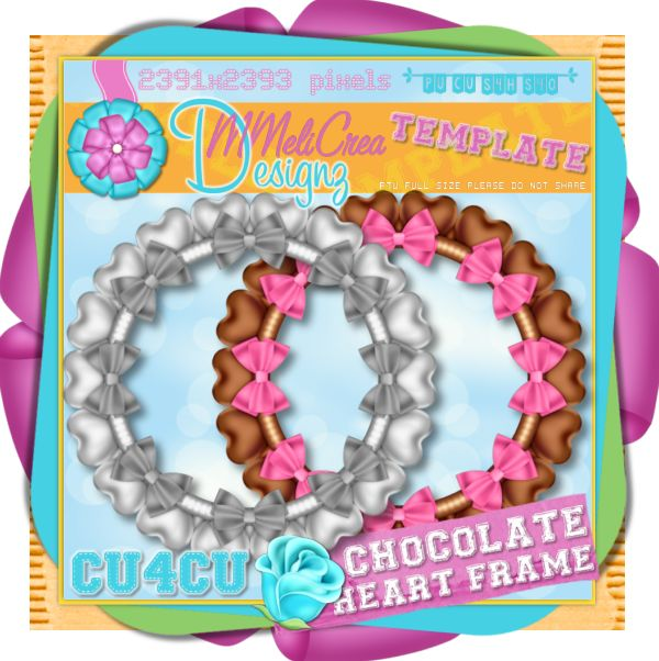 Chocolate Hearts Frame Template