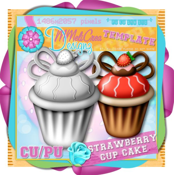 Strawberry Cup Cake Template
