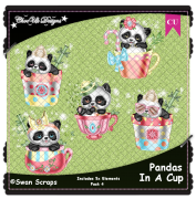 Pandas In A Cup Elements CU/PU Pack 4