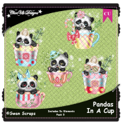 Pandas In A Cup Elements CU/PU Pack 5