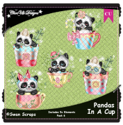 Pandas In A Cup Elements CU/PU Pack 6