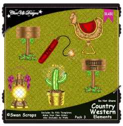 Country Western Items Elements R4R Pack 3