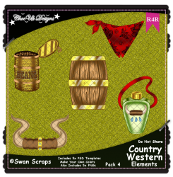 Country Western Items Elements R4R Pack 4